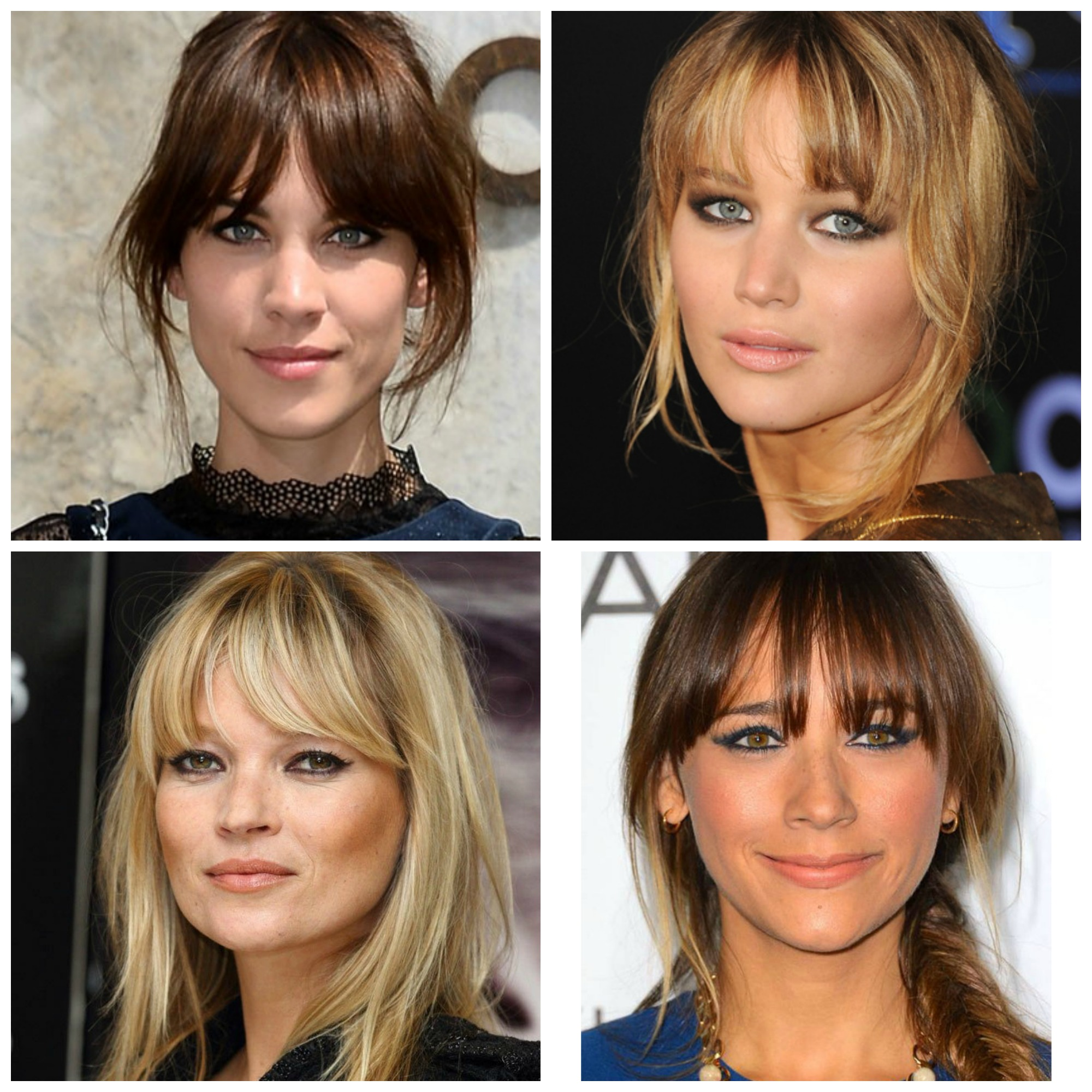 Clockwise from top right: Alexa Chung, Jennifer Lawrence, Rashida Jones, and Kate Moss